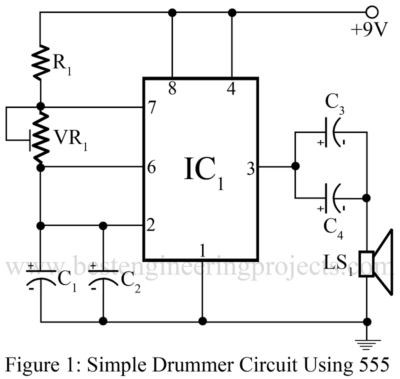 Simple Drummer Project Using Timer 555 Engineering Projects