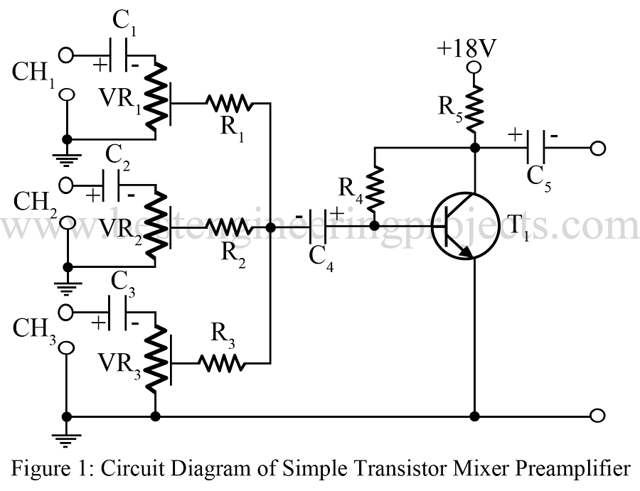 audio mixer circuit best engineering projects rh bestengineeringprojects com  simple dj mixer circuit diagram