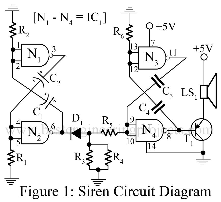simple siren circuit using cd7400