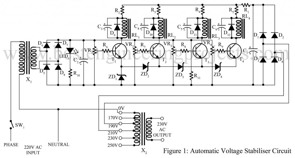 automatic voltage stabilizer circuit best engineering projects rh bestengineeringprojects com voltage stabilizer circuit diagram ac voltage voltage stabilizer circuit diagram pdf