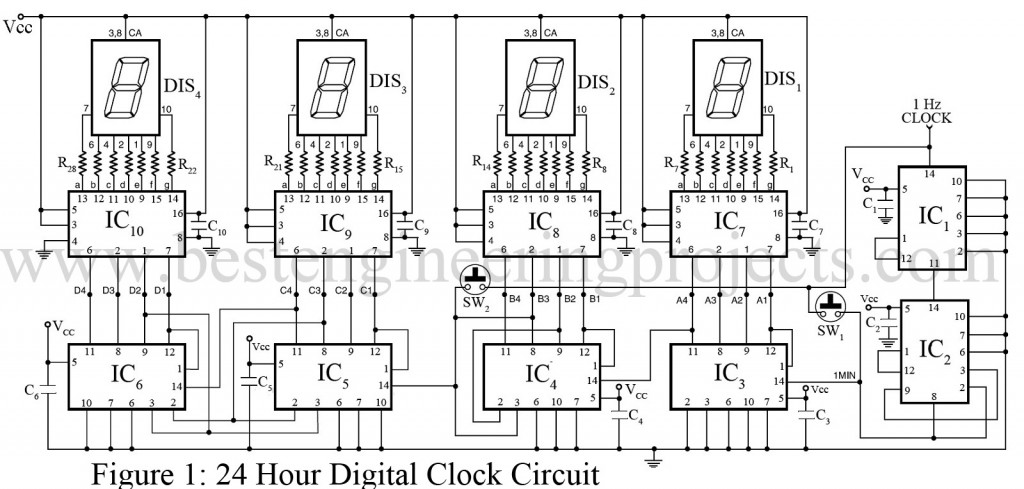 24 Hour Digital Clock and Timer Circuit - Best Engineering Projects