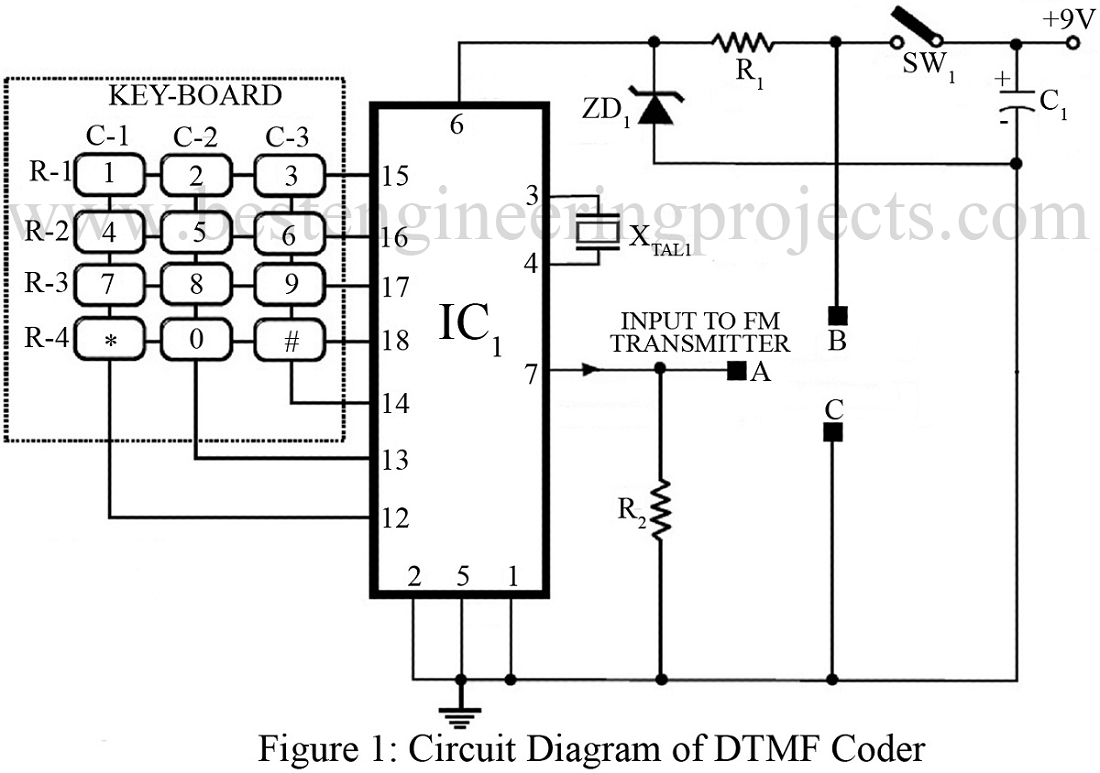 Dtmf Schematic Diagram Diy Enthusiasts Wiring Diagrams Control Engineering Symbols Based Remote System Best Projects Rh Bestengineeringprojects Com Tv