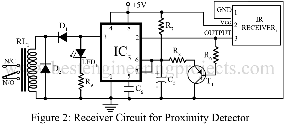 proximity detector circuit using 555 timer ic