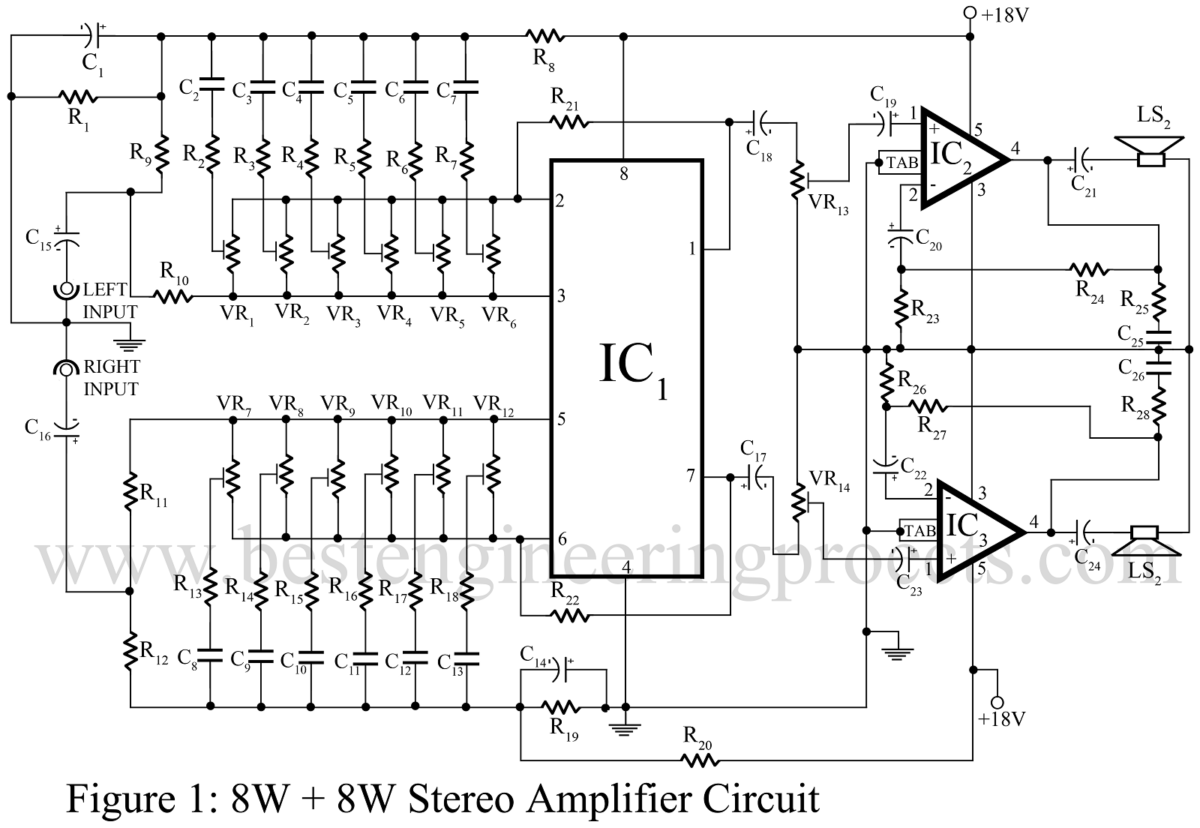 Amplifier Circuit Diagram Power Voltage 18 W Stereo 8w With Graphic Equaliser