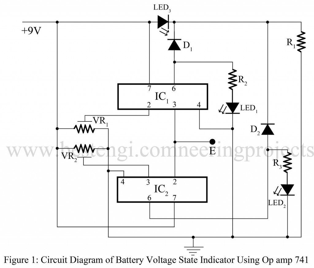 Battery Voltage State Indicator Using 741 Best Engineering Projects 9 Volt Buzzer Circuit Diagram Of