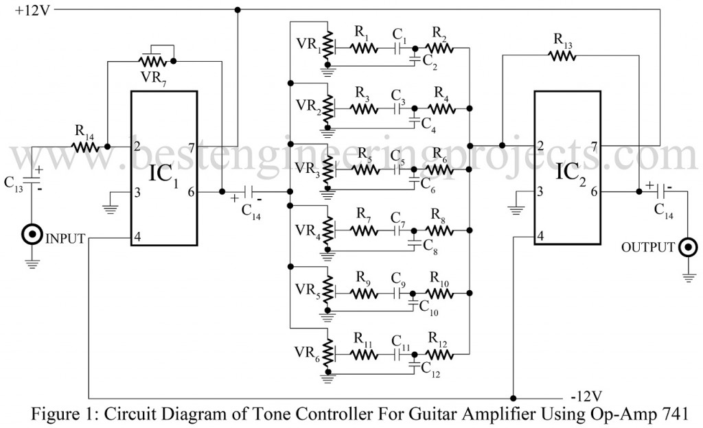 Guitar Preamp With Tone Controls Amplifiercircuit Circuit Diagram