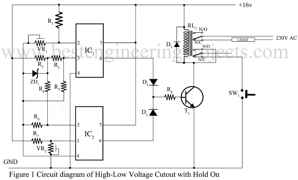 High Low Voltage Cut Out Using Op Amp 741 Circuit Diagrams