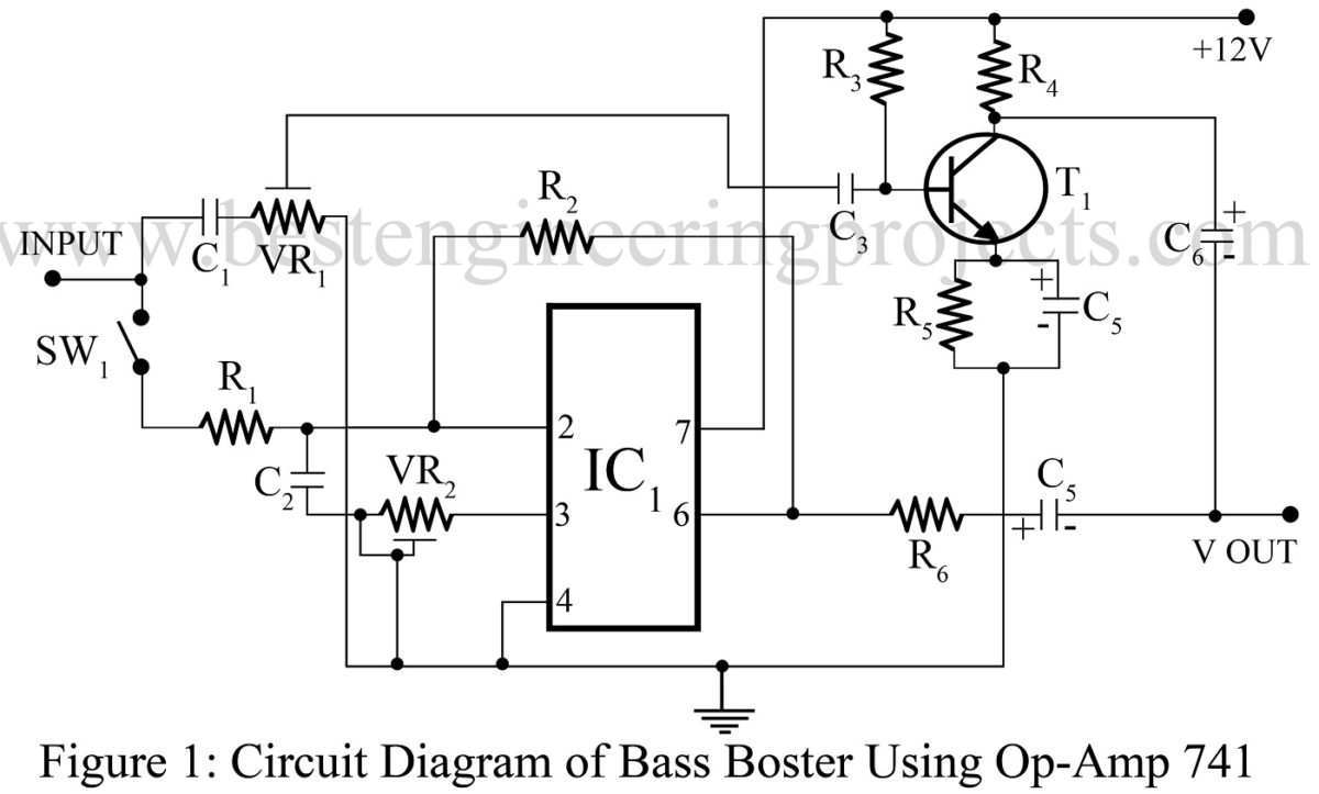 Bass Booster Circuit Using Op Amp 741 Ic Best Engineering Projects Diy Operational Amplifier Schematic
