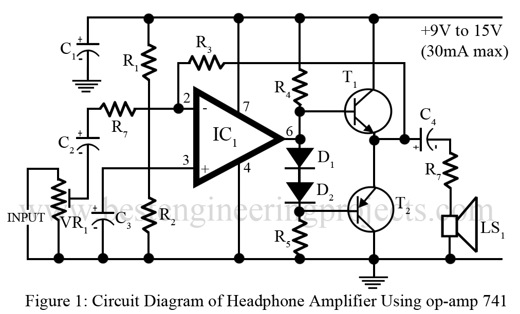DIY Headphone Amplifier using 741 IC - Engineering Projects