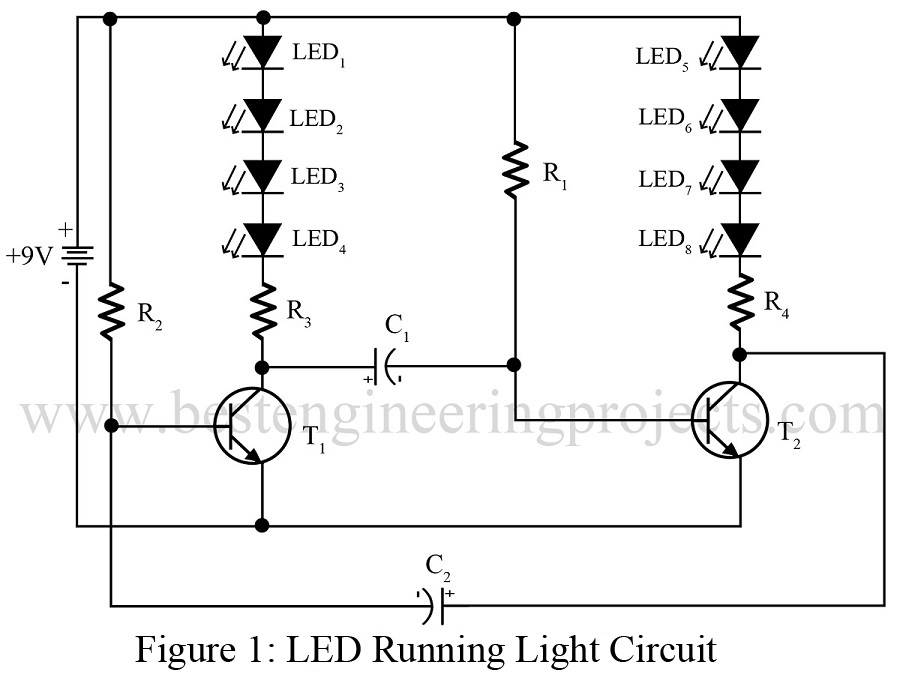 Led Diagram | Led Running Light Circuit Engineering Projects