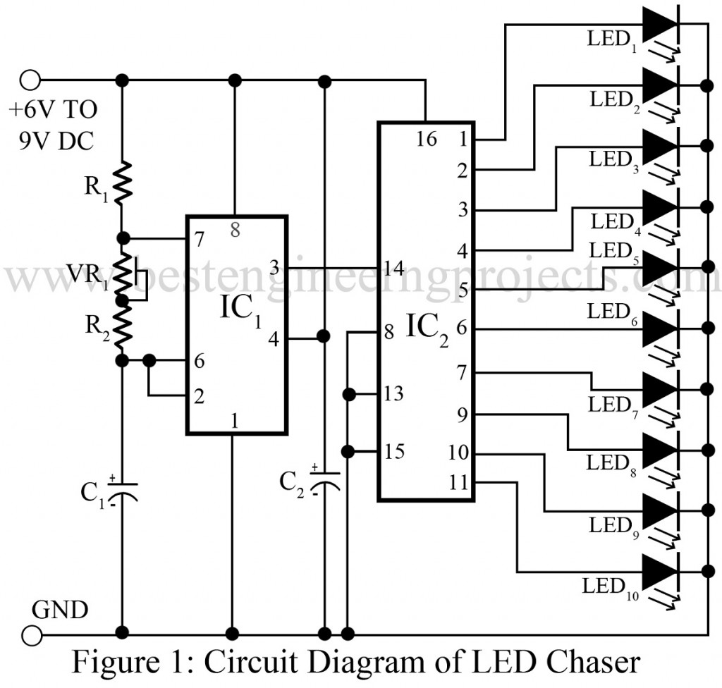 led chaser using ne555 rh bestengineeringprojects com  8 channel pwm led chaser circuit diagram