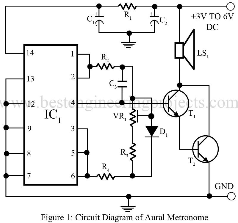 aural metronome circuit best engineering projects rh bestengineeringprojects com Motor Control Circuit Circuit Diagram Metronome