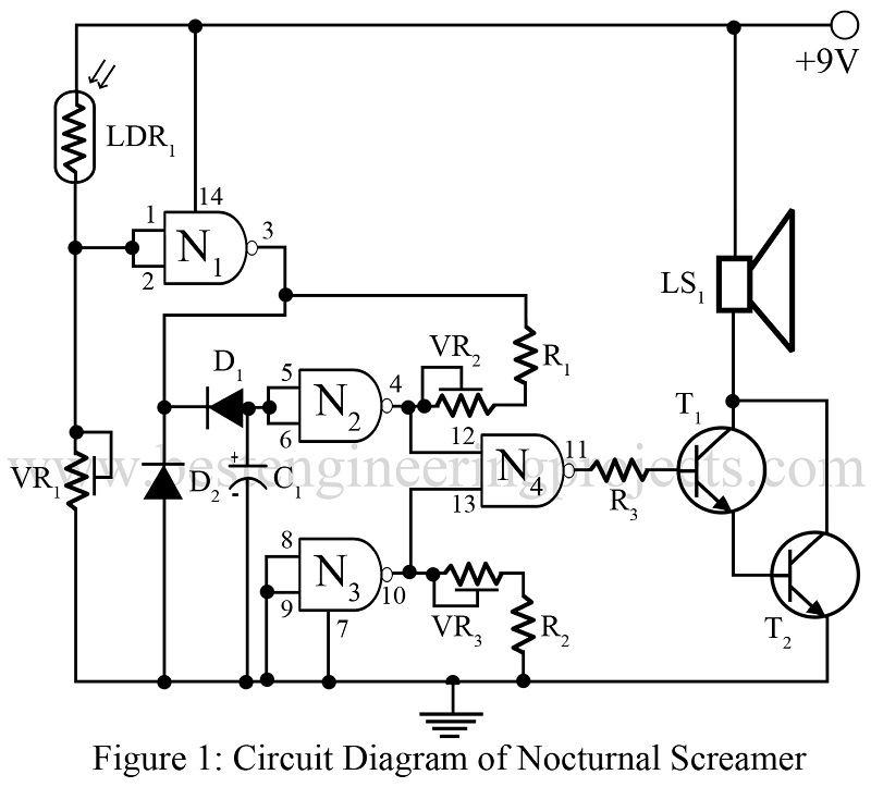 nocturnal screamer circuit using cd4099