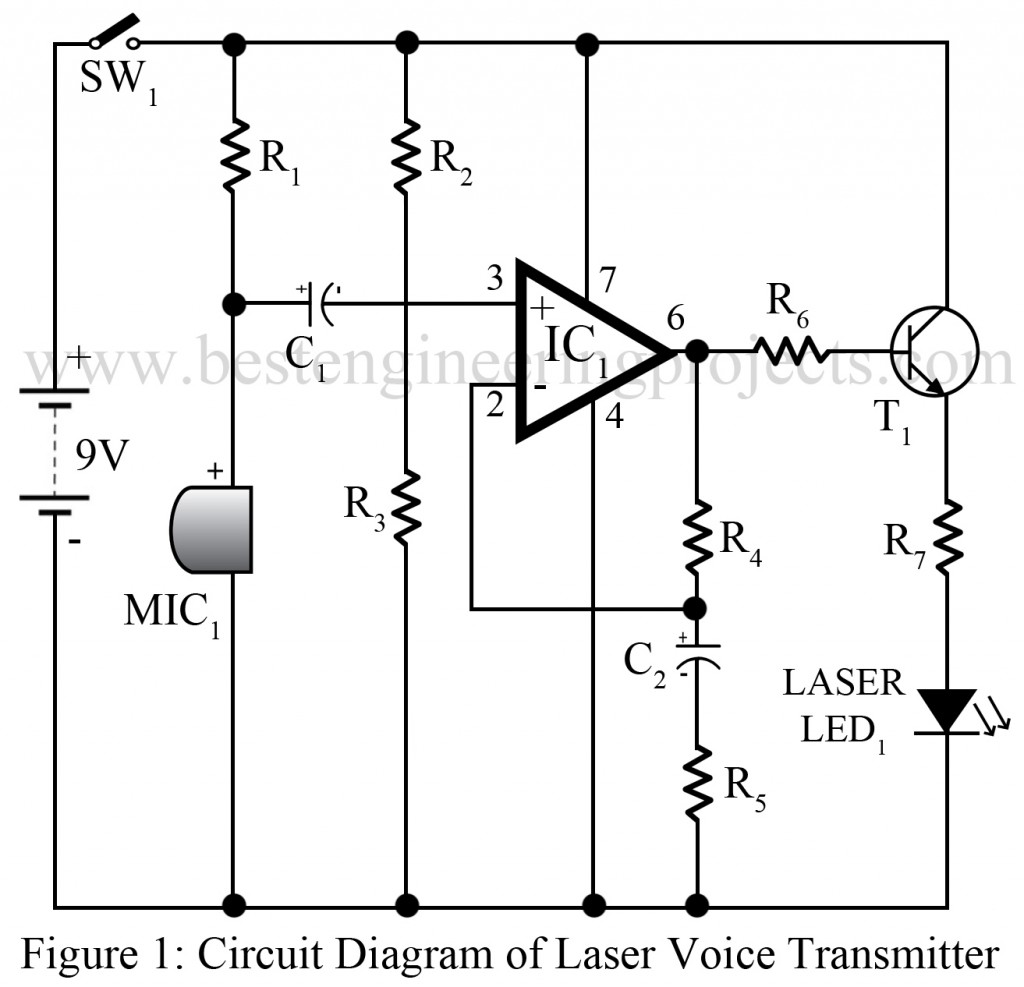 Laser Voice Transmitter Circuit Emitter Audio Preamp Schematic Using 1 Npn Transistor Drawing