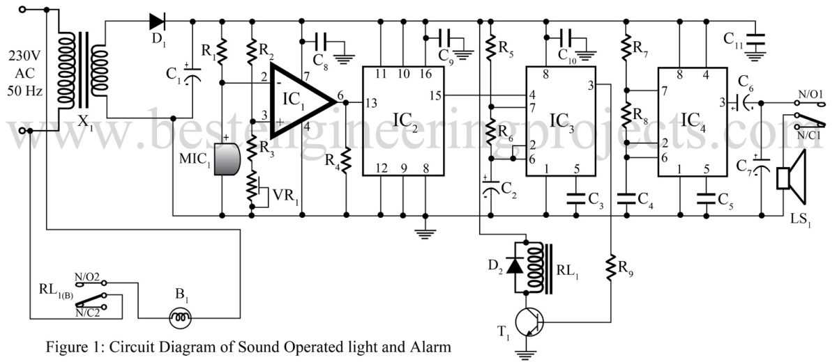 sound operated light and alarm circuit
