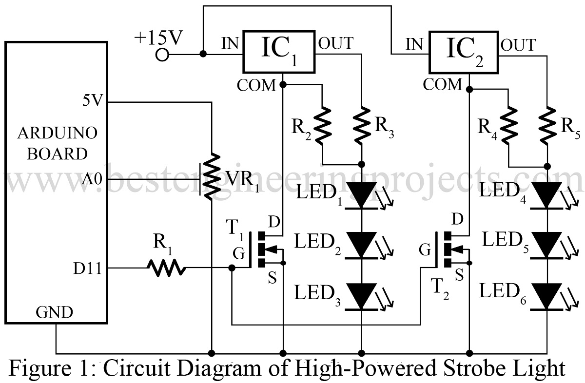 high powered strobe light using arduino best engineering projects rh bestengineeringprojects com Arduino Uno Circuit Arduino Circuit Diagram Maker