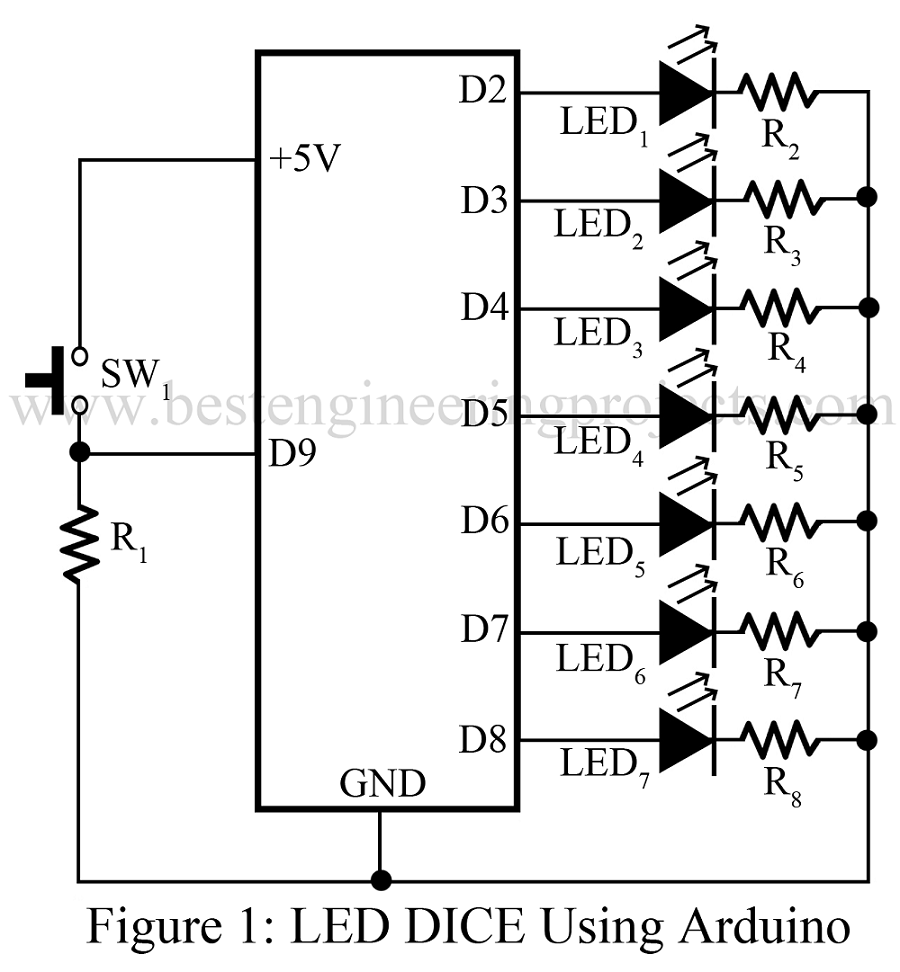 Superb An Electronic Dice Schematic An Electronic Dice Using Atmega8 Wiring Digital Resources Biosshebarightsorg