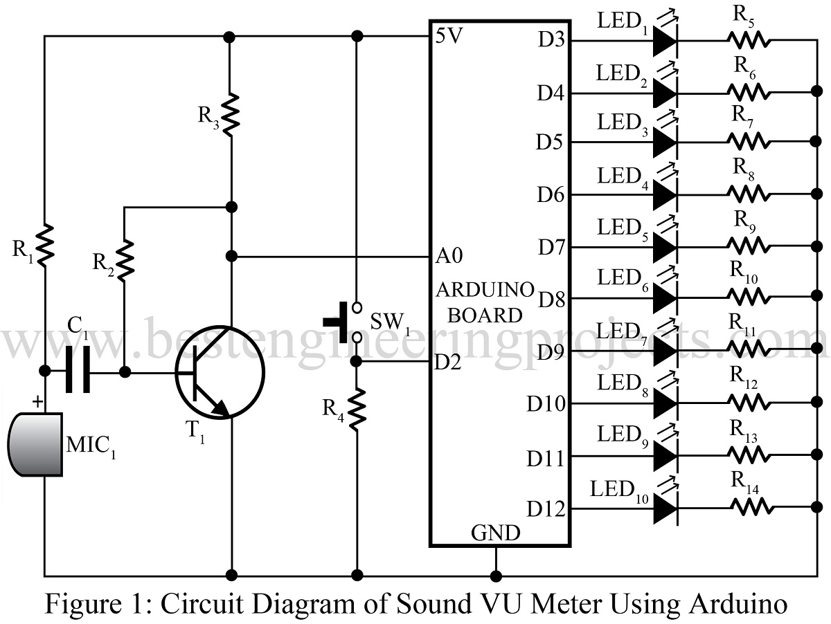 Sound Vu Meter Using Arduino Best Engineering Projects Bc548 Heat Sensor Circuit