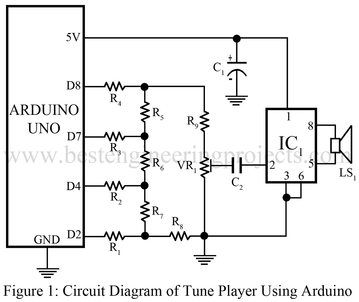 Ne555 Melody Circuit Electronics Projects Circuits Tune Player Using Arduino Best Engineering