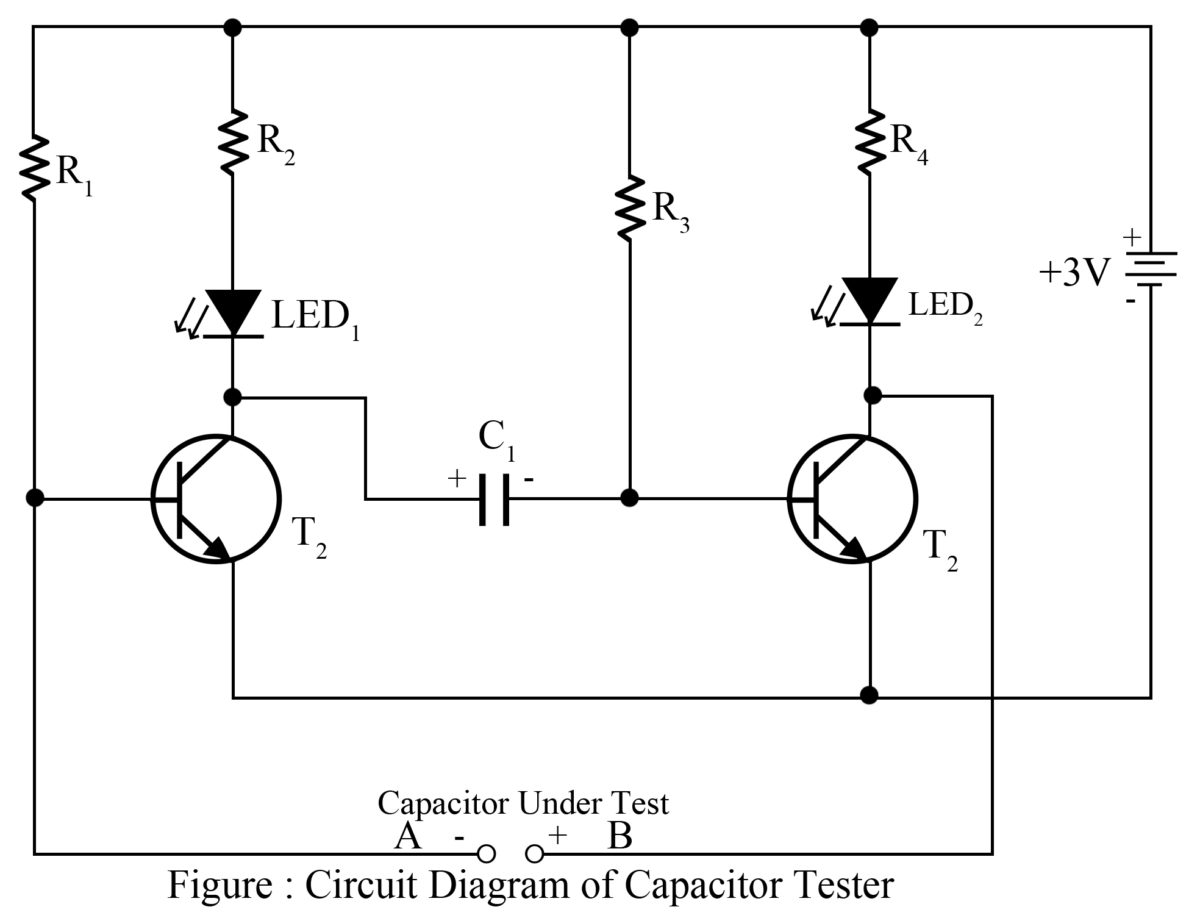 capacitor tester cum flasher best engineering projects rh  bestengineeringprojects com circuit diagram capacitor charging circuit  diagram of capacitor tester
