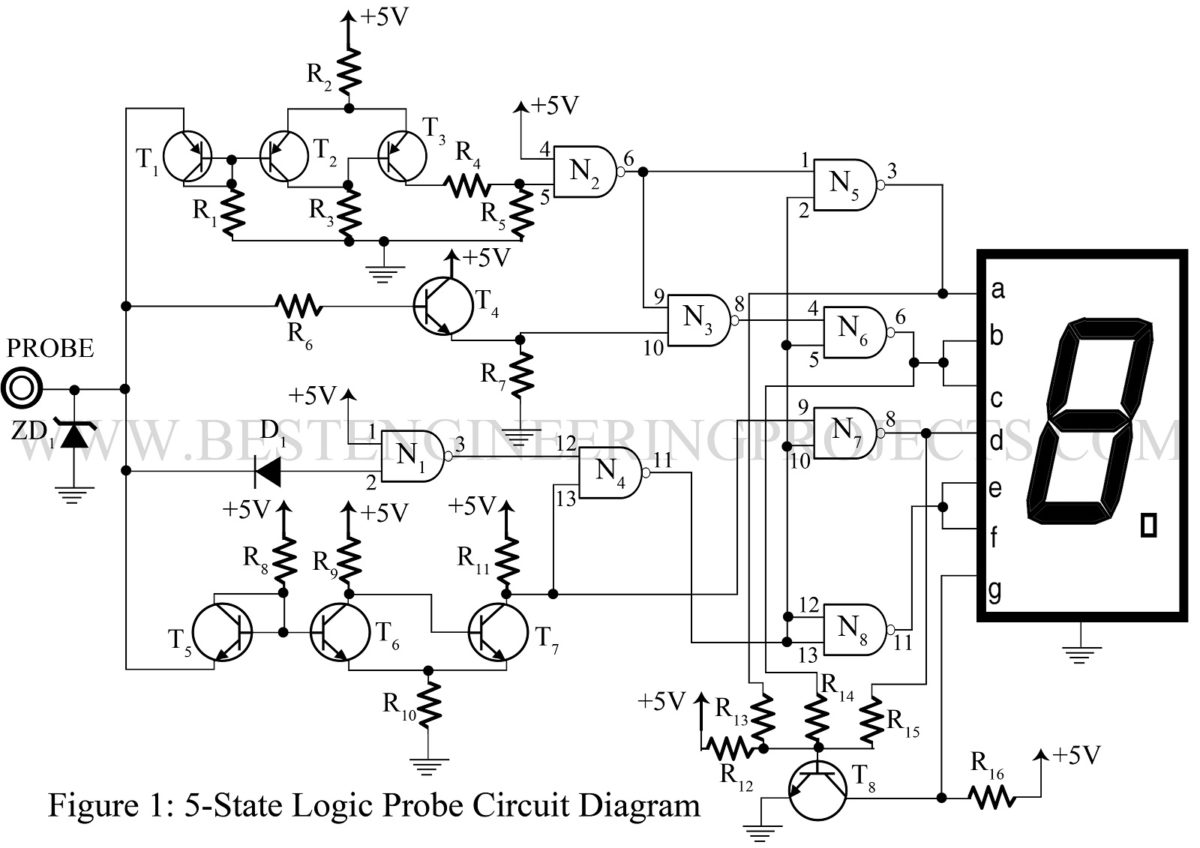 Logic Probe Circuit Diagram Wiring Library 10 Second Delay Timer By Transistor Eleccircuitcom 5 State Digital Ic And Tester Best Engineering Projects