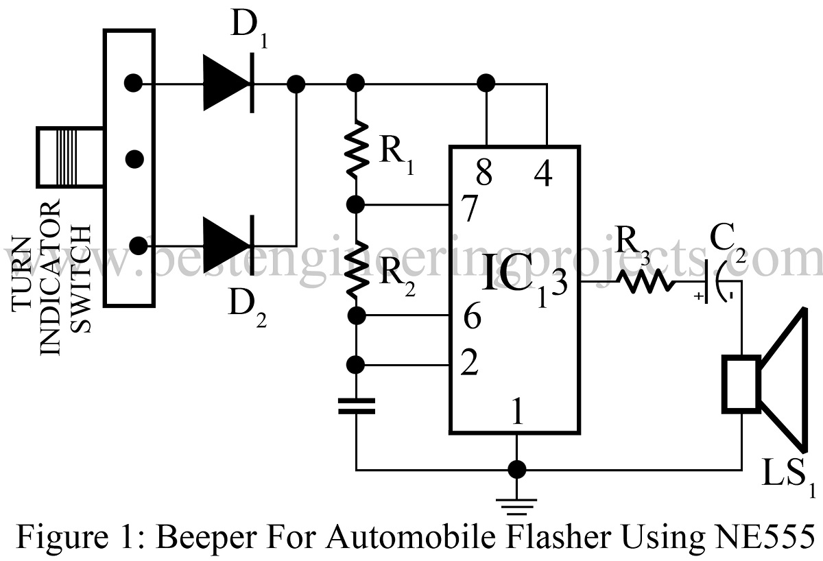 50 Top 555 Timer Ic Projects Engineering Automatic Changeover Switch Circuit Using Beeper For Automobile Flasher Diagram