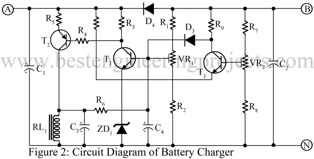 12 V Battery Charger With Overcharge And Deep Discharge Protecting