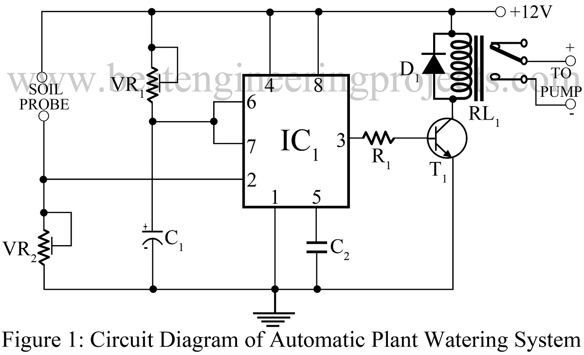 Circuit Diagram 555 Timer Wiring Library Astable Multivibrator Using Ne Ic Block Automatic Plant Watering System Best Engineering Projects
