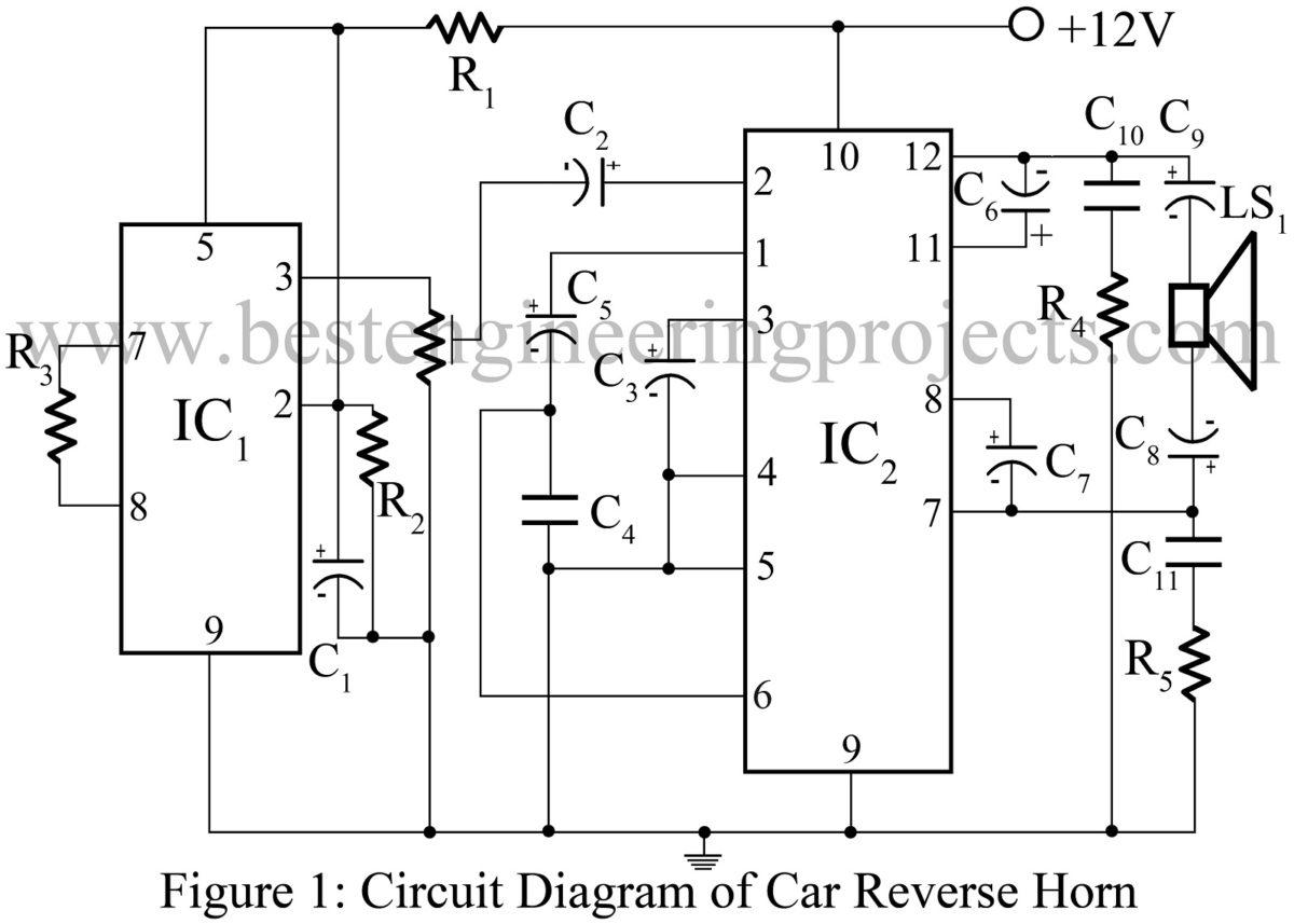 Alarm Circuit Door Bell Diagram Doorbell Using 555 Ic More Car Reverse Horn