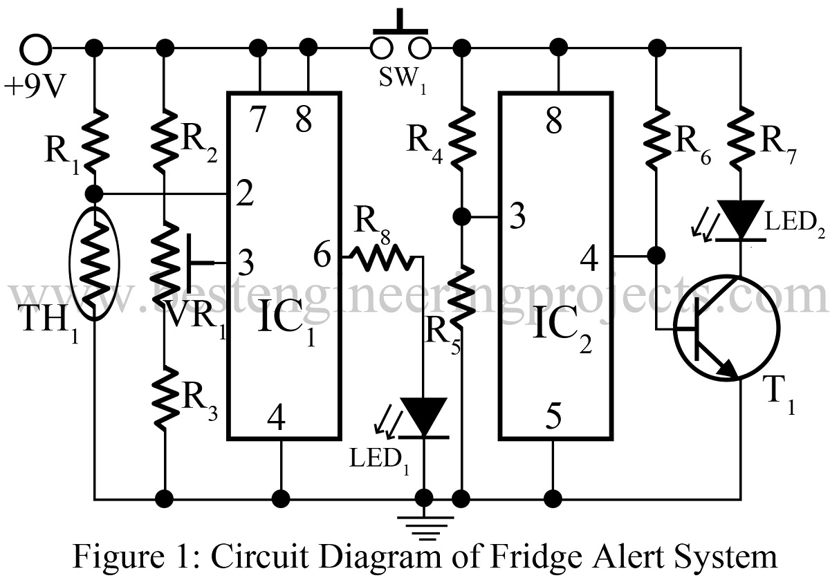 Fridge Alert System Circuit
