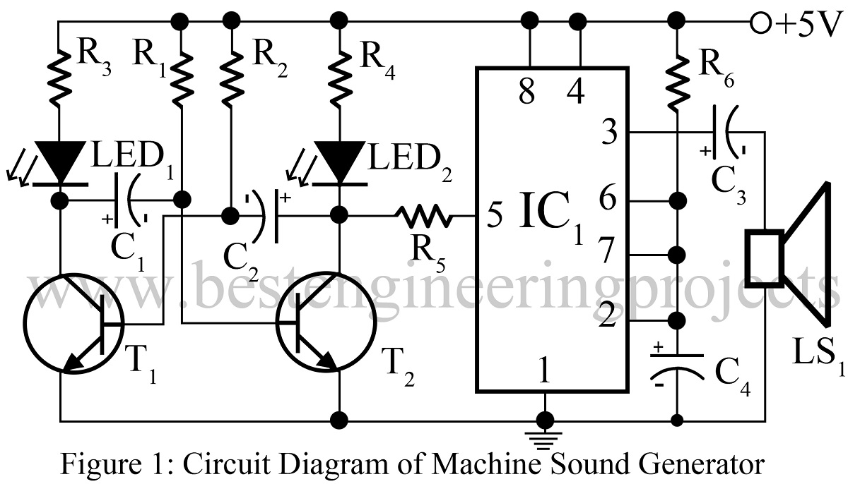 50 Top 555 Timer Ic Projects Projectsonelectricalengineering Quiz Project Using Machine Sound Generator