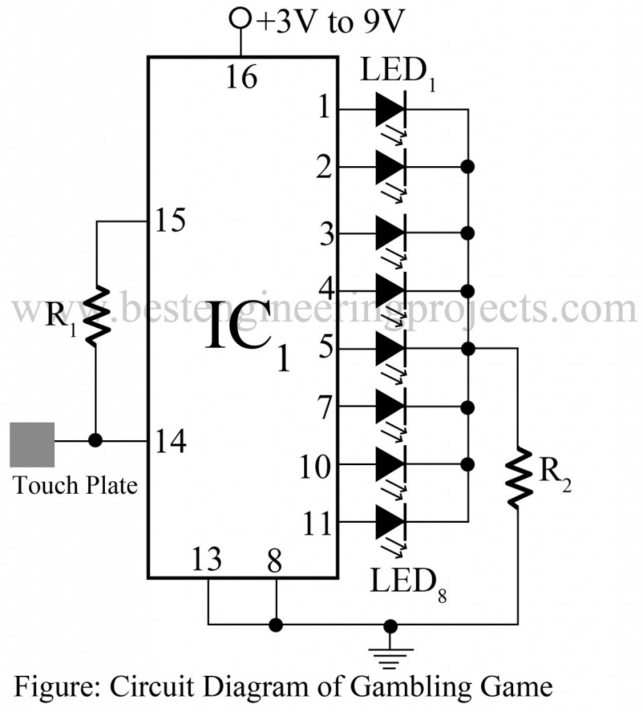 electronics gambling game circuit best engineering projects rh bestengineeringprojects com circuit diagram meter circuit diagram for fans