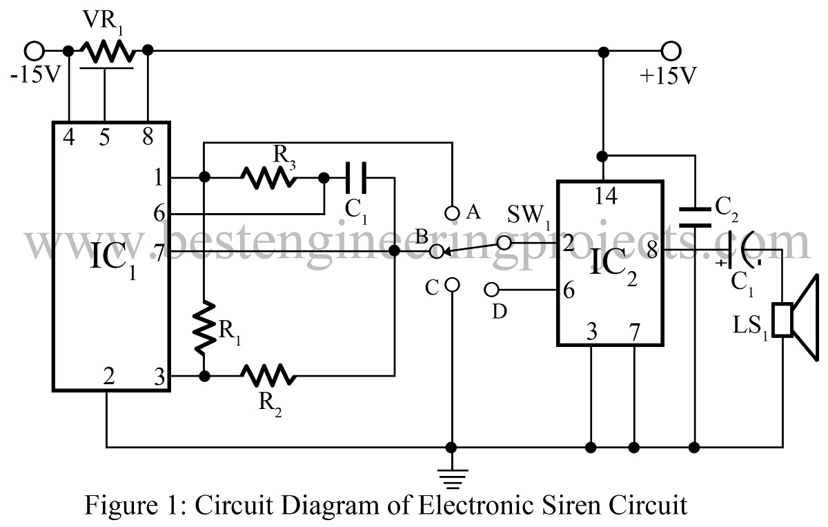 electronic siren circuit engineering projects