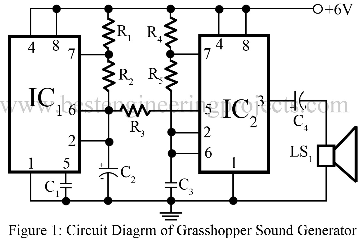 Grasshopper Sound Generator Circuit Using 555 Timer Ic Diagram
