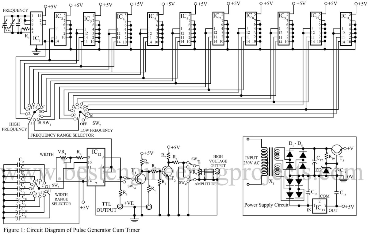 Pulse Generator Circuit Cum Timer Best Engineering Projects Multiple Wiring Diagram