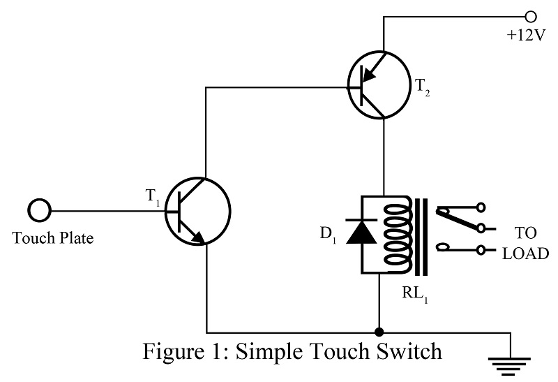 simple touch switch using two transistor