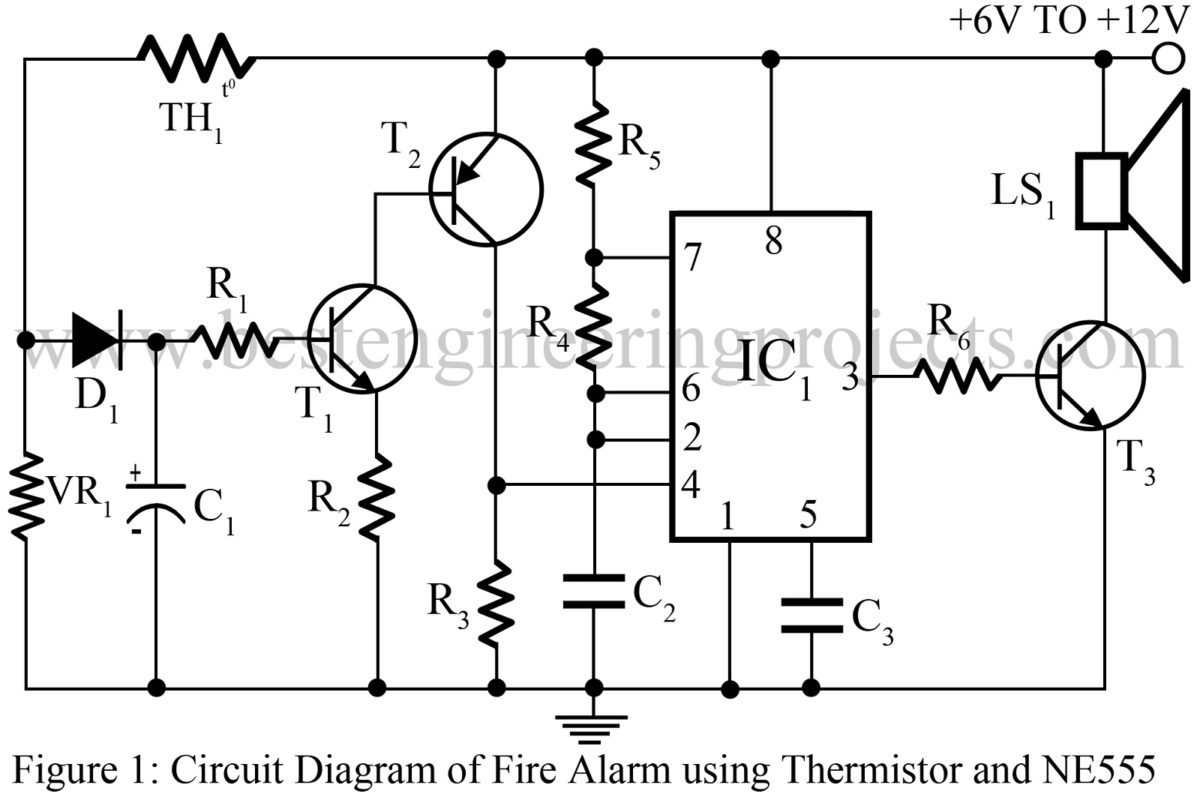 Fire Alarm Using Thermistor And Ne555 Best Engineering Projects Be Seen From The Circuit Ic 555 Use To Function Frequency Generator