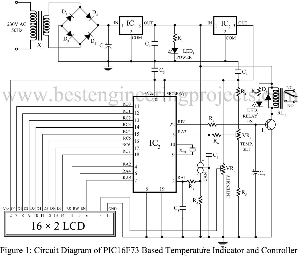 Pic16f73 Based Temperature Indicator And Controller Voice Warning Circuit Diagram Sensorcircuit