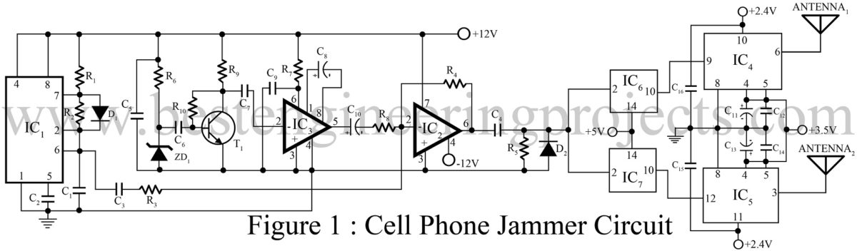 Cell Phone Jammer Circuit Best Engineering Projects Homemade Antenna Wiring Diagram