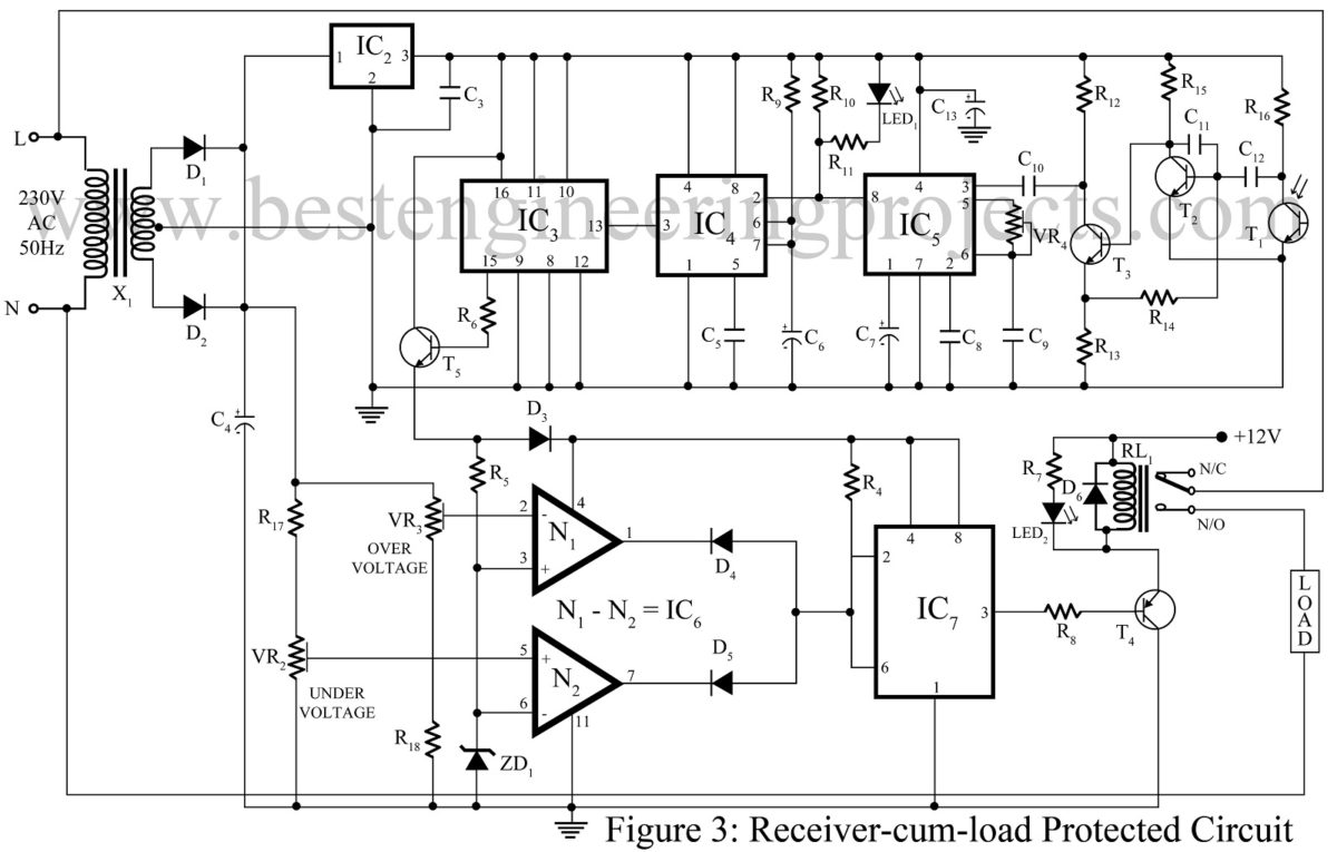 Load Protector Circuit And Remote Switching Best Engineering Projects Lm324 Comparator