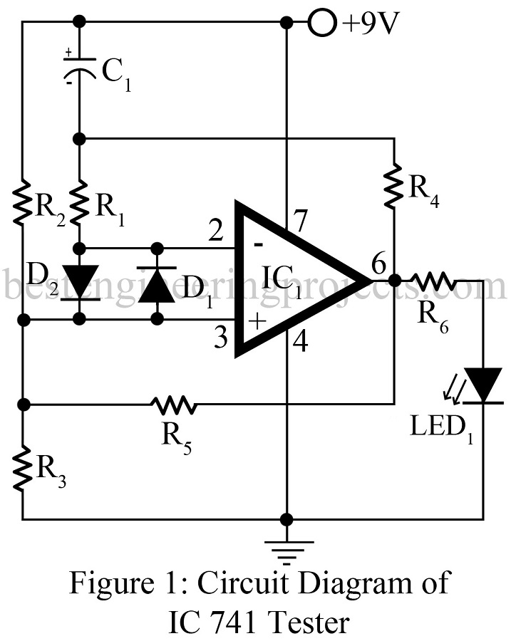 operational amplifier 741 tester engineering projects how to test a diode in circuit op amp test loop circuit download