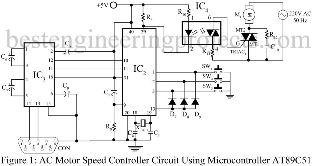 ac motor speed controller circuit using at89c51. Black Bedroom Furniture Sets. Home Design Ideas