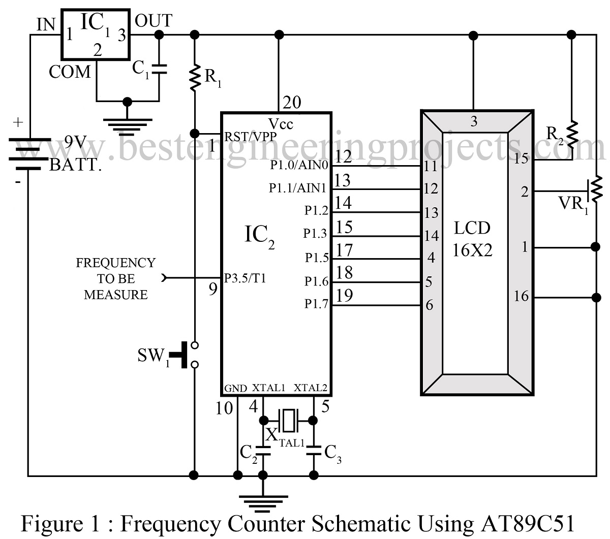 Frequency Counter Schematic Using Microcontroller At89c51 Best Digital Long Time Delay Circuit Amplifiercircuit Diagram Engineering Projects