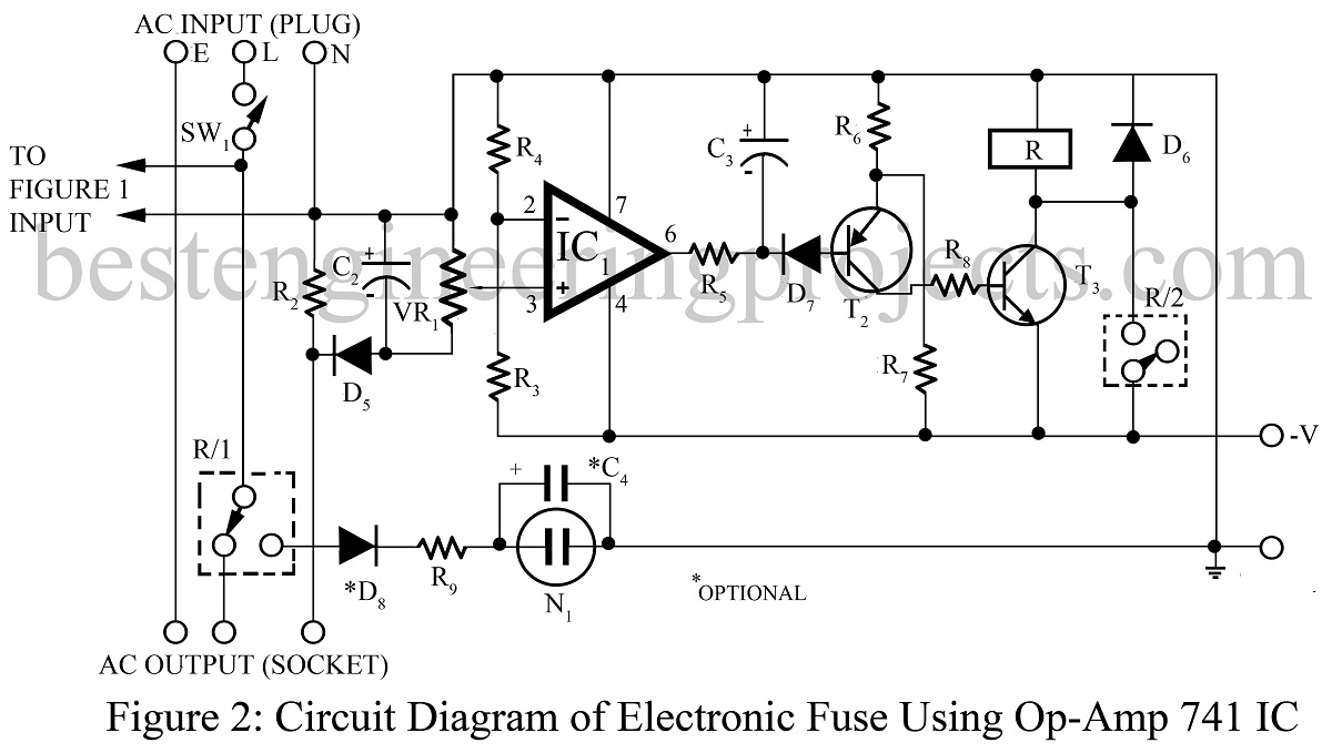 electronic fuse using op-amp 741
