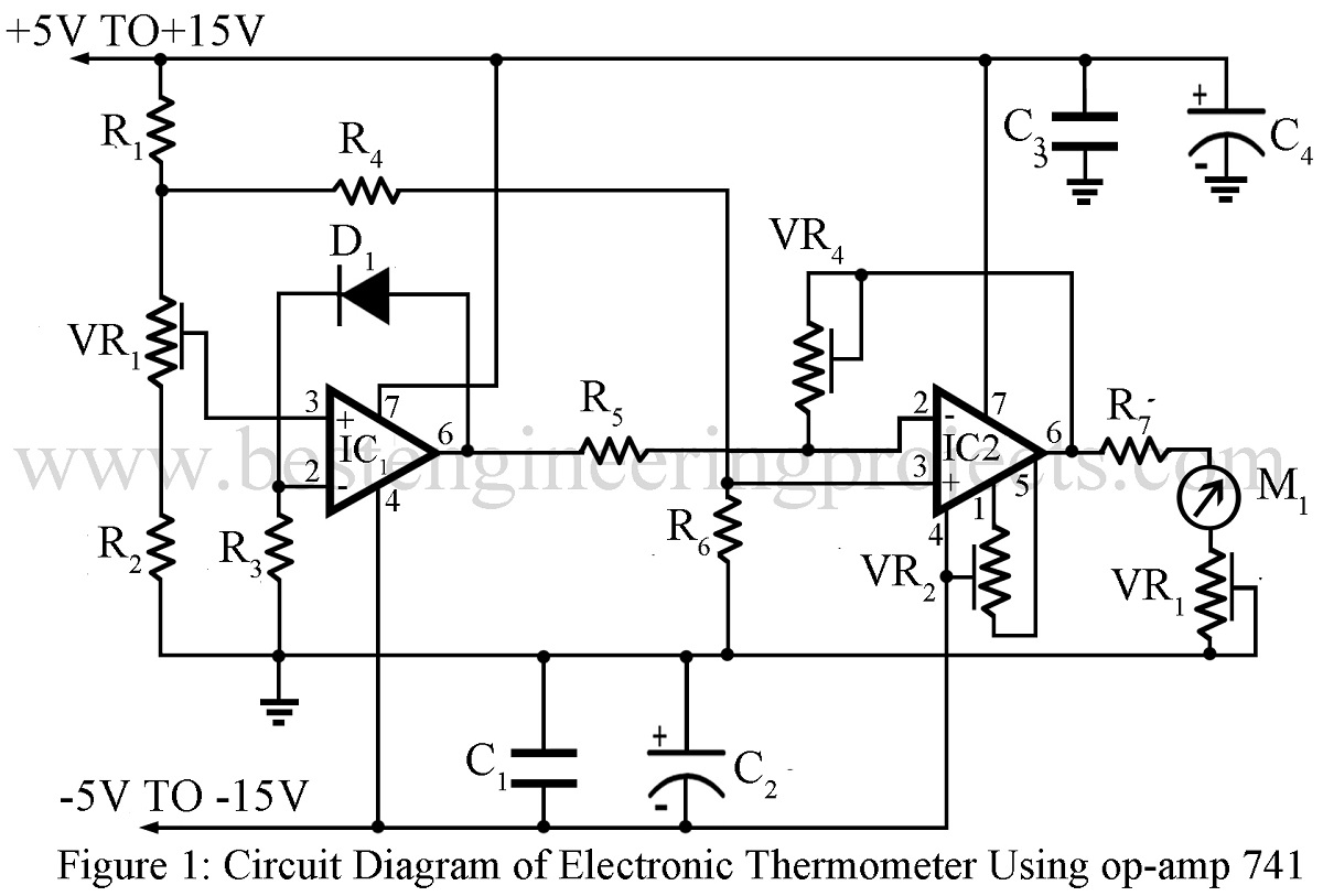 Electronics Thermometer Using Op Amp 741 Ic Best Engineering Projects Voltage Amplifier Circuit