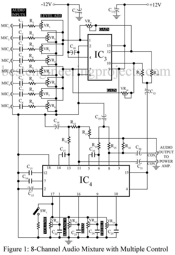 stereo tone control circuit diagram t
