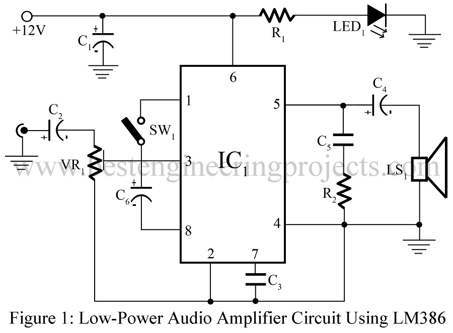 low power audio amplifier using lm386 engineering projects 3 transistor audio amplifier lm386 low voltage audio power amplifier