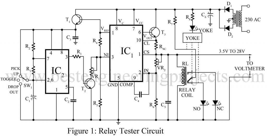 relay tester circuit best engineering projects rh bestengineeringprojects com relay testing kit circuit diagram Latching Relay Circuit Diagram