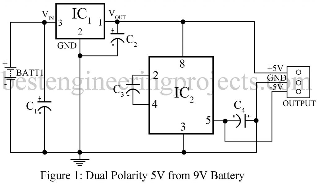 dual polarity 5v from 9v battery
