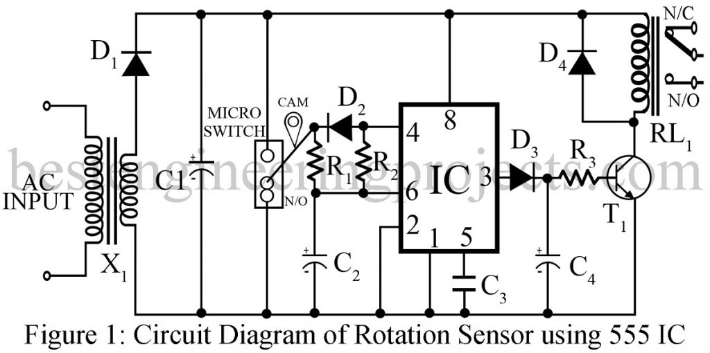 rotation sensor using 555 ic